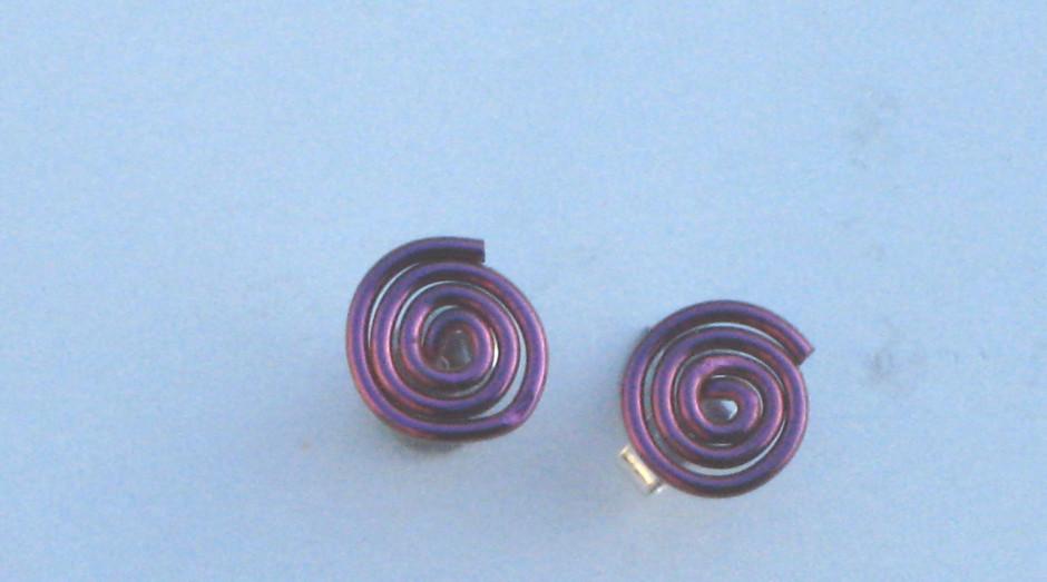 Niobium Spiral Studs Pink £10.00