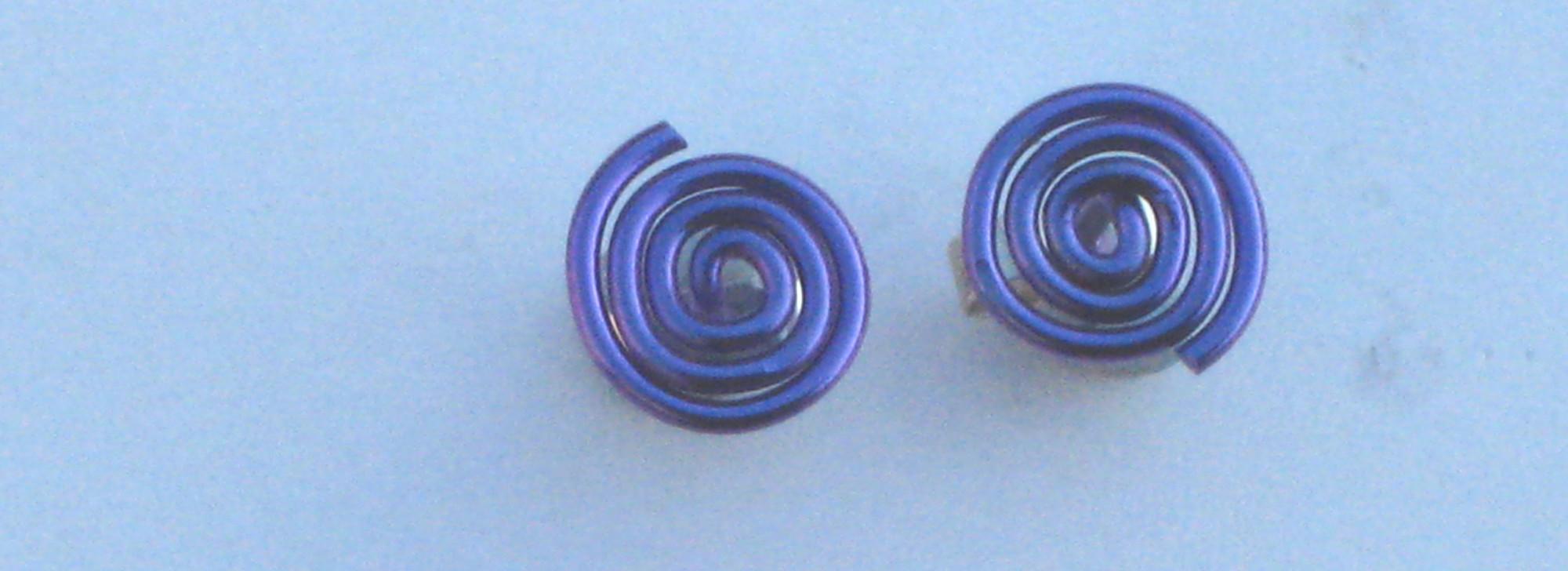Niobium Spiral Studs Purple  £10.00