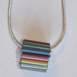 Niobium Tube Bead Pendant on 18'' silver snake chain £25.00 crop