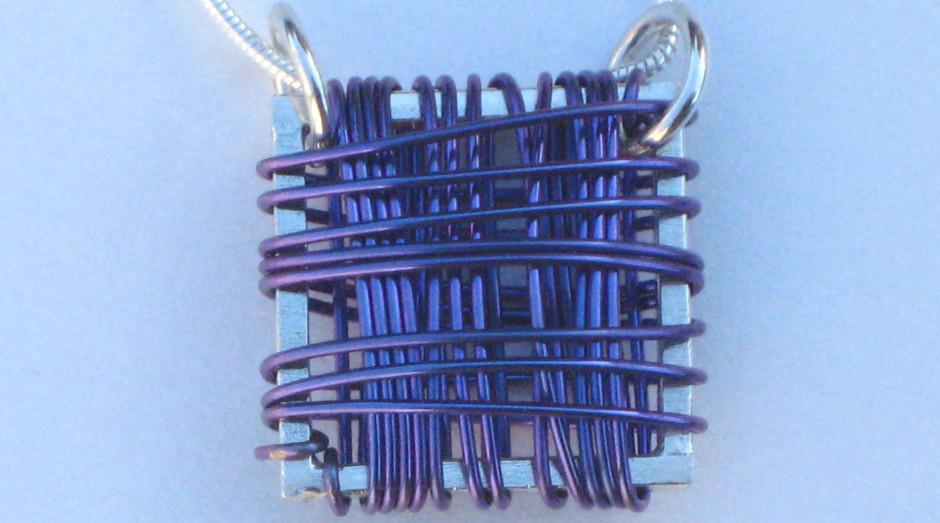 Silver & Niobium Basket Pendant on 18'' silver snake chain. Purple. £40