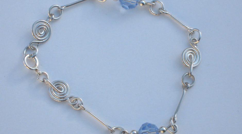 Silver SPiral, Bar & Crystal Bracelet £30.00