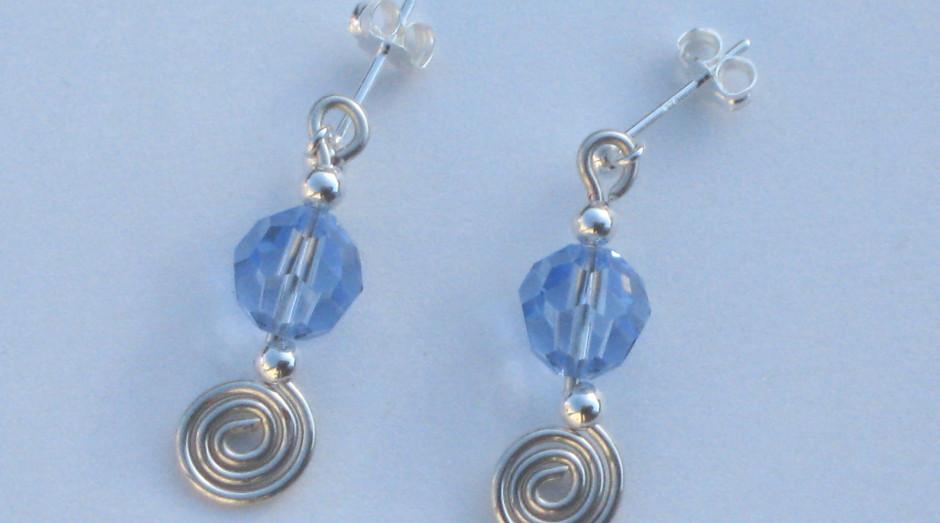 Silver Spiral, Bar & Crystal Earrings £15.00