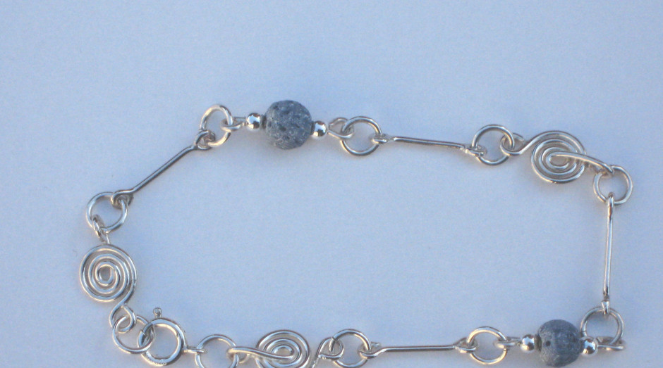 Silver Spiral, Bar & Semi-Precious Stone Bracelet £30.00