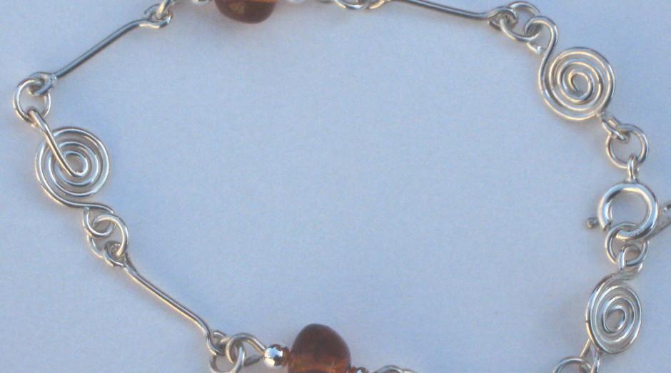 Silver Spiral, Bar & Semi-Precious Stone Bracelet Amber £40.00