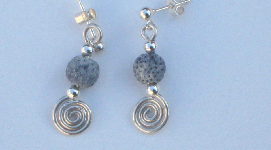 Silver Spiral, Bar & Semi-Precious Stone Earrings £15.00
