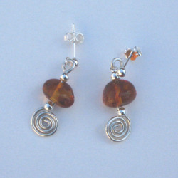 Silver Spiral, Bar & Semi-Precious Stone Earrings Amber  £15.00
