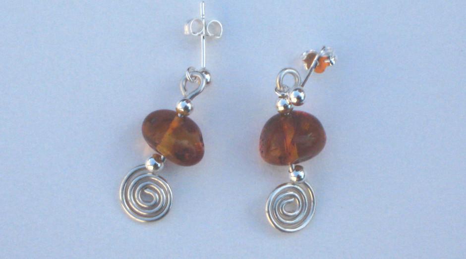 Silver Spiral, Bar & Semi-Precious Stone Earrings Amber  £15.00