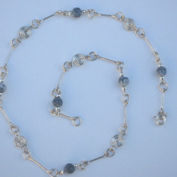 Silver Spiral, Bar & Semi-Precious Stone Necklace 18'' £40.00