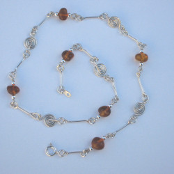 Silver Spiral, Bar & Semi-Precious Stone Necklace Amber  £40.00