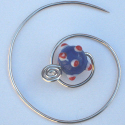 Silver Spiral Brooch with handmade blue glass bead £20
