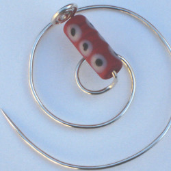 Silver Spiral Brooch with handmade red glass bead £20