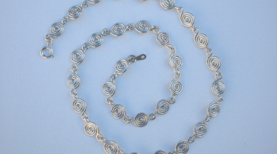 Silver Spiral Necklace 18'' £50.00